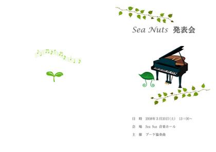 Sea Nuts Club 発表会 プログラム制作 ピアノ かわいいイラスト系 木漏れ日の演奏会